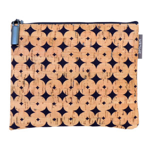 Pouch in Navy Cork Dots