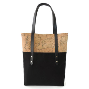 Big Boot Tote in Marble Cork with Black Canvas