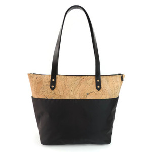Travel Tote in Marble Cork and Black Nylon