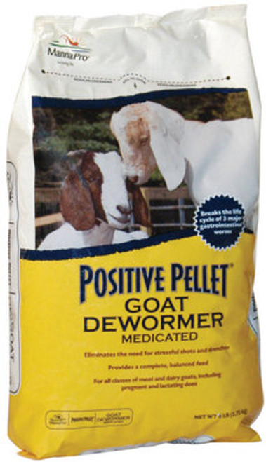 $15.99 to $42.99        View Larger Image   Positive Pellet® Medicated Goat Dewormer removes and controls 3 major gastrointestinal parasites. Nutritious pellet can be fed as top dress or single dress or single dose complete feed.