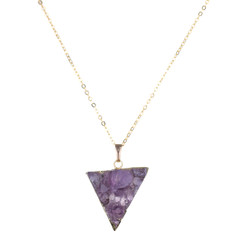 TREZO LAVI Raw Amethyst Triangle Necklace