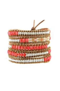 Trezo Lavi Fire Glow Leather Wrap Bracelet