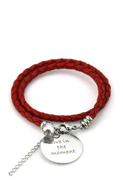 TREZO LAVI Live in the Moment Leather Bracelet in Red