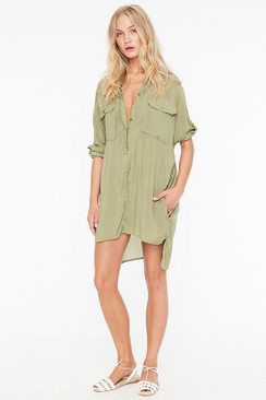 FAITHFULL THE BRAND Baia Shirt Dress in Plain Sage