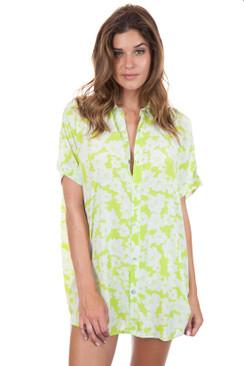 ACACIA Mombasa Shirt Dress in Neon Magnolia