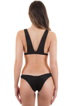 BETTINIS Minimal High Leg Bottom in Black Rib