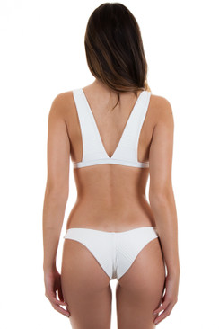 BETTINIS Minimal High Leg Bottom in Cream Rib