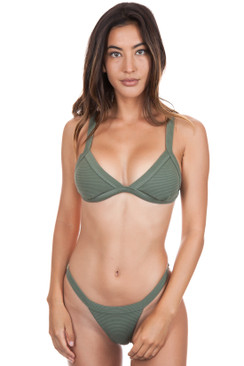 ISSA DE MAR Maile Top in Olive Rib