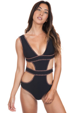 ELLEJAY Amores One Piece in Black Texture