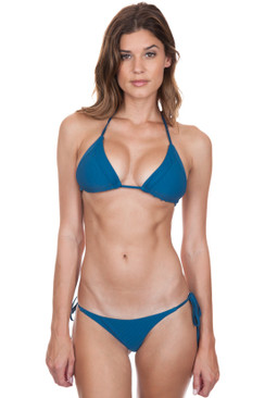 FRANKIES BIKINIS Sky Top in Deep Sea Blue