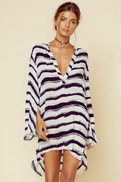 BLUE LIFE Boho Sleeve Shirt Dress in Nautical Stripe