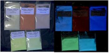 Five glow colors in the dark pigment kit