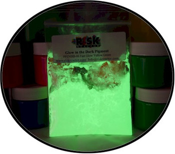 Quick glowing phosphorescent green powder for paints and inks
