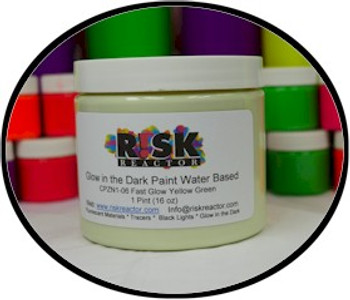 Phosphorescent green quick glow in the dark water based paint