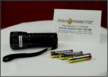 The multi UV LED flash light takes three double AA batteries and comes with the unit.
