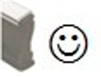 Wood handle stamp with a smile image on it for black light UV marking inks