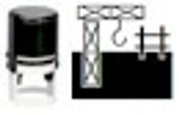 Construction image on self inker stamp that can be used with any marking ink