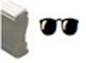 Dark sunglasses wood stamp using invisible fluorescent black light inks