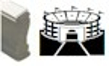 Wood handle stamp with stadium image for black light sporting events and bars