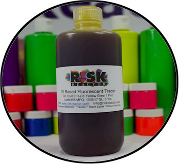Black light oil tracer dyes in pint form for easy use and accurate pour