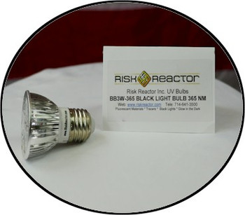 Three Black Light LED illuminate this strong UV bulb.