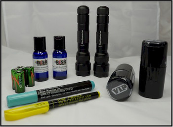 Black light fluorescent stamping kit comes with everything you need for a two door event or bar.