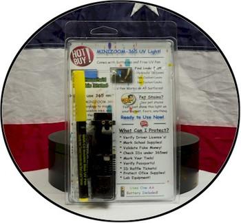 Mini zoom 365 nm black light flashlight kit with battery and UV pen.