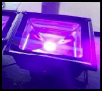 395 NM ultraviolet energy floodlight used in any blacklight applications such as NDT or curing of adhesives