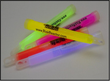 Six inch glow sticks with Risk Reactor company name and logo on it