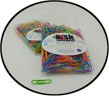 Metal paper clips with vinyl coating in fluorescent neon colors