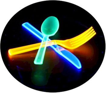 Neon plastic knives that glow under UV light