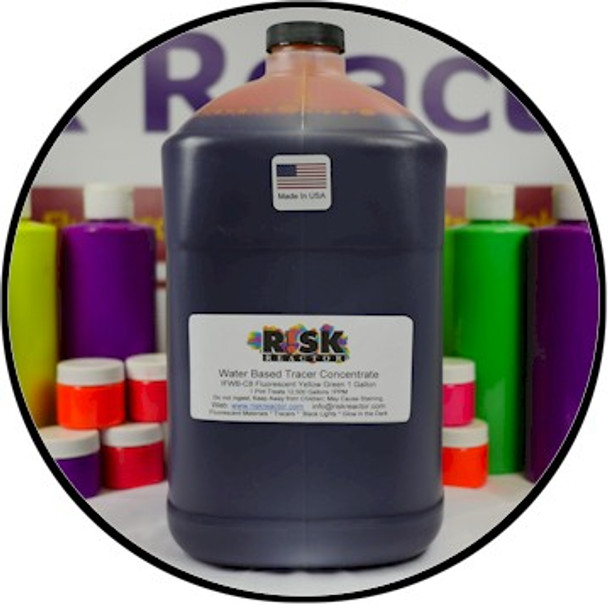 Strongest yellow green UV liquid tracer that glows brightly under Risk Reactor Inc black lights.