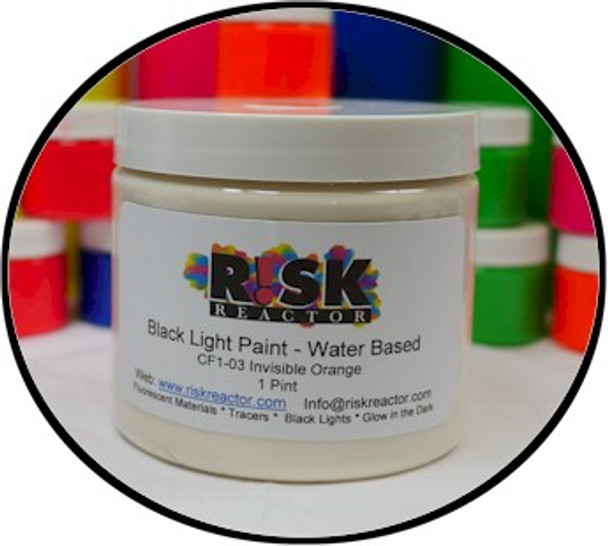 Invisible black light fluorescent paint that changes color from regular light to ultra violet light