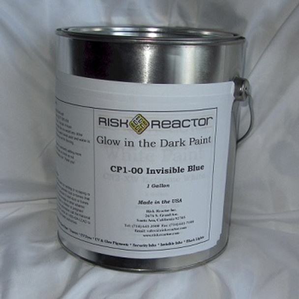 Paint that is white in regular light and glows blue.