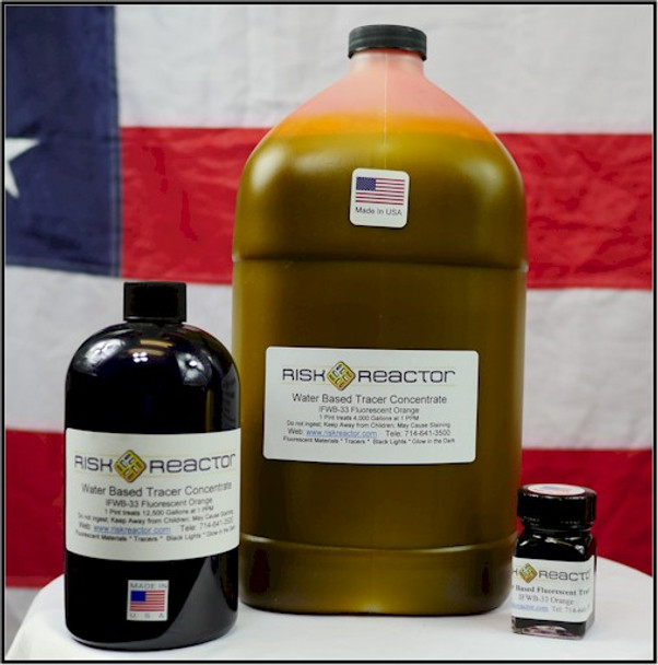 Other sizes of orange EPA liquid dye concentrates for IFWB 33 tracers.