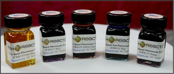 Four of the NSF certified dyes are ready to use and black light comes with batteries.