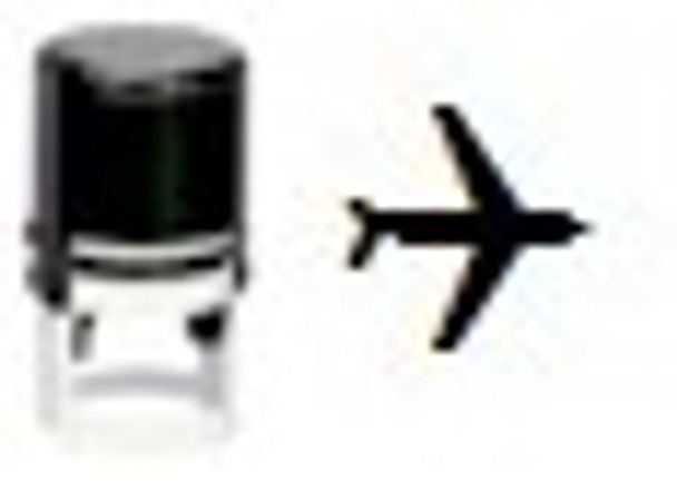 Stamp shape of an air plane which is used to mark human hands at UV bars and black light events.