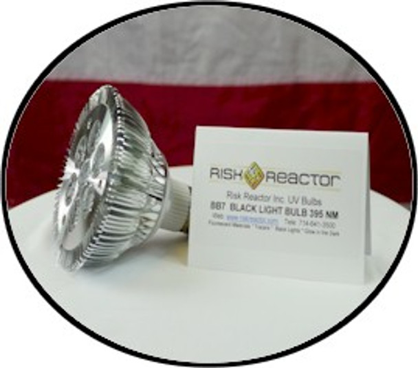 Seven black light LED bulb emitting 395 nm ultraviolet energy for curing of glue and coatings.