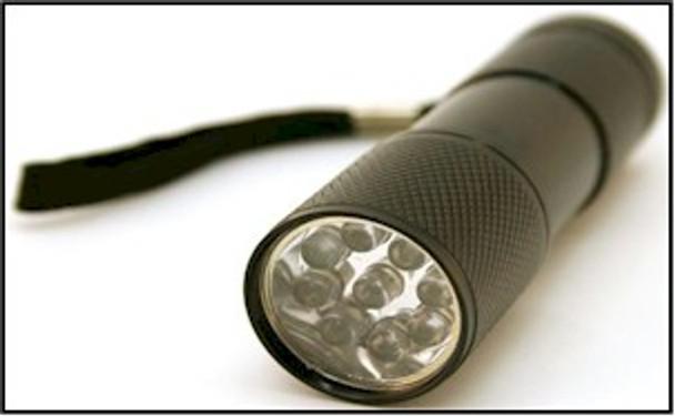 Box of 12 B9UV 390-400 nm UV Ultra Violet Blacklight flashlight. Comes with Batteries!