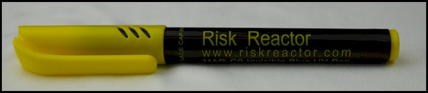 Fluorescent invisible blue marking pen with yellow cap and black body.