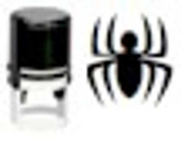 The image of the spider on the right is the invisible black light stamp.