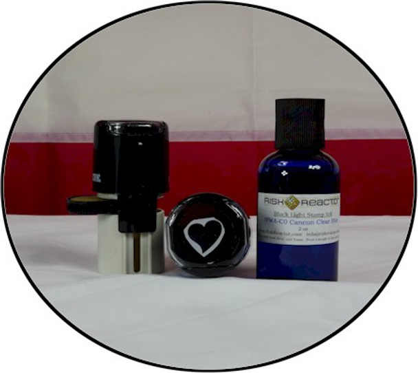 Round self inking Heart stamper that can be used with any ink including our black light IFWA Series