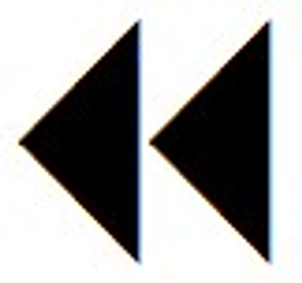 Double arrow pointing left stamp used in clubs to validate IDs and age.