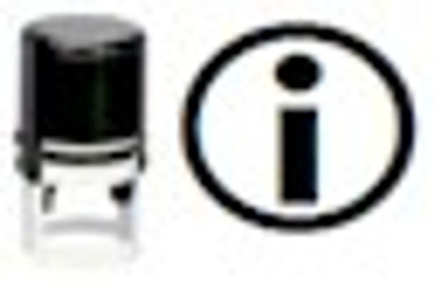 Stamper makes the black light image of a universal symbol for information or you can get your own custom UV stamper.