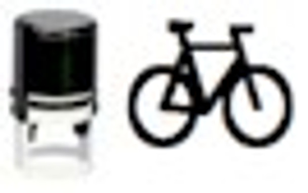 Invisible fluorescent bike self inking stamper for events and bars.