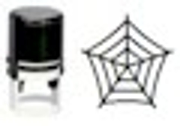 Black light self inking stamper with spider web image on it