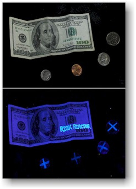 Here our invisible uv pen ink is used on money and shown under black light energy.