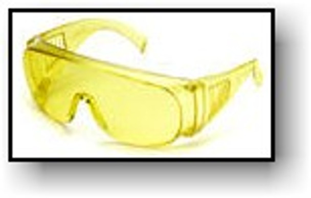 UVGLASS1 eye protector meets the requirements ANSI Z87 and filters out the visible light.