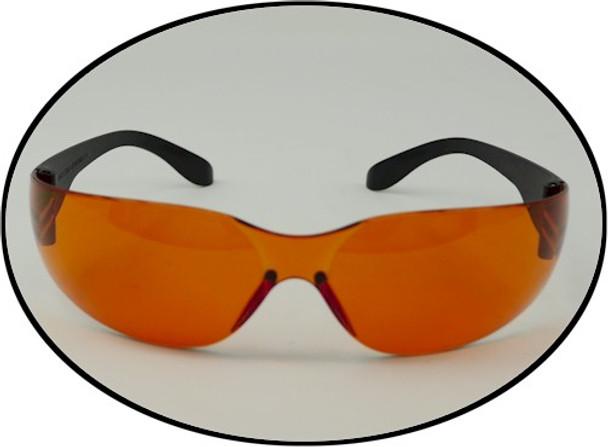 UV orange safety glasses for crime scene investigations and inspections