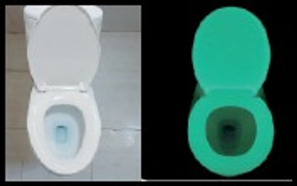 Picture showing the GLOWSEAT-RYG glow seat in regular light and glowing under dark bathroom conditions